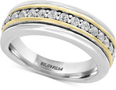 Effy Men's White Sapphire Band (3/4 ct. t.w.) in Sterling Silver and 18k Gold