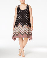 Trixxi Trendy Plus Size Printed Handkerchief-Hem Midi Dress