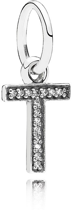 Pandora Pendant - Sterling Silver & Cubic Zirconia Letter T, Moments Collection