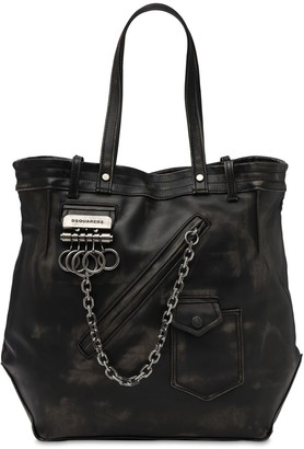 DSQUARED2 Vintage Leather Tote Bag W/ Chain