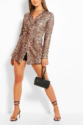 boohoo Leopard Print Longline Double Breasted Blazer