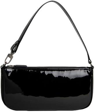 BY FAR Rachel Black Patent Leather Shoulder Bag