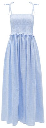 Loretta Caponi Luisa Smocked Gingham Cotton Dress - Blue Print