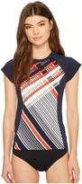 Tommy Hilfiger Tommy  Heritage Plaid Short Sleeve Rashguard Women's Swimwear