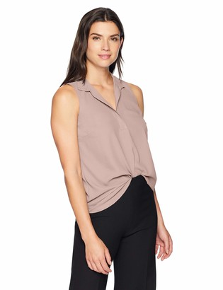 Lark & Ro Women's Sleeveless Open Collar Blouse