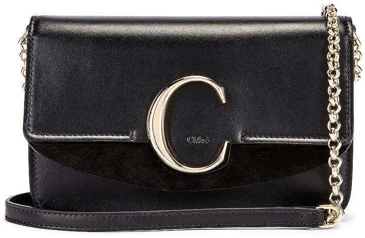 Chloé C Chain Clutch Bag in Black | FWRD