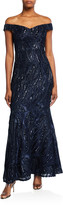 Aidan Mattox Sequin Off-the-Shoulder Flounce-Hem Gown