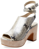 Delman Daisy Embossed Leather Ankle-Wrap Sandal