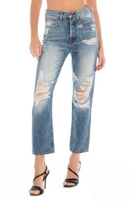 Fidelity Happy Daze High Waist Destroyed Straight Leg Jeans