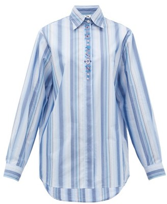 M Missoni Logo-embroidered Striped Poplin Shirt - Blue White