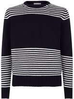 Moncler Wool-cashmere Stripe Print Sweater