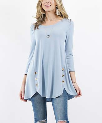 Ash Lydiane Women's Blouses  Blue Three-Quarter Sleeve Wooden Button-Accent Tulip-Hem Tunic - Women