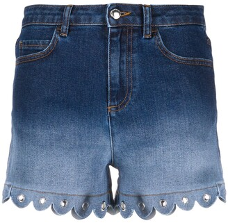 RED Valentino Faded-Effect Denim Shorts