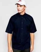 Weekday Pointbreak Shirt Short Sleeve Loose Boxy Fit in Dark Blue