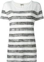 Saint Laurent striped short sleeve T-shirt - women - Linen/Flax - XS