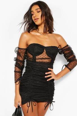 boohoo Dobby Mesh Ruched Mini Dress