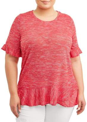 Terra & Sky Women's Plus Size Scoopneck Peplum Tee with Ruffle