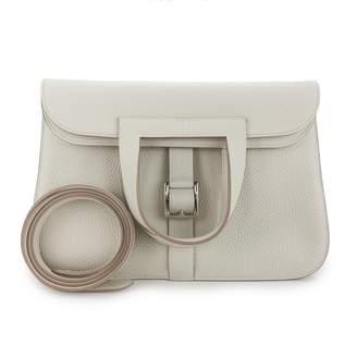 Hermes Halzan Ecru Leather Handbags