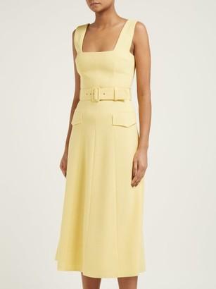 Emilia Wickstead Petra Belted Wool-crepe Midi Dress - Light Yellow