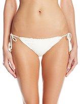 Vix Women's Solid Off White Tie Side Full Bikini Bottom