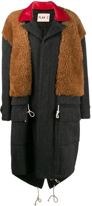 Plan C Shearling Panel Coat