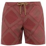 Thorsun - Quilt Print Titan Fit Swim Shorts - Mens - Red