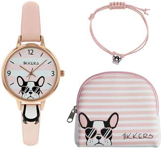 Lacoste Tikkers Pink Dial Watch Purse and Charm Bracelet Set