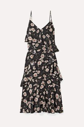 Michael Kors Ruffled Floral-print Silk Crepe De Chine Dress - Black