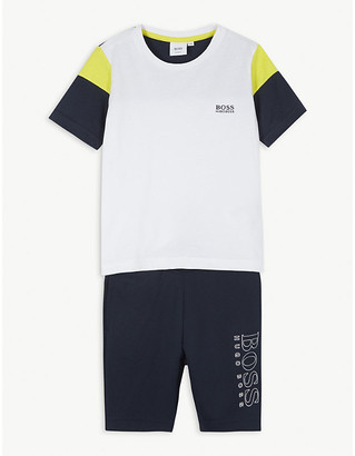 BOSS Logo cotton T-shirt and shorts set 4-16 years