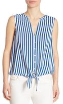 Joie Tyson Striped Front-Tie Blouse