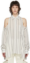 Maison Margiela White Striped Open Shoulder Shirt