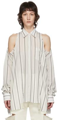 Maison Margiela White Striped Open Shoulder Shirt