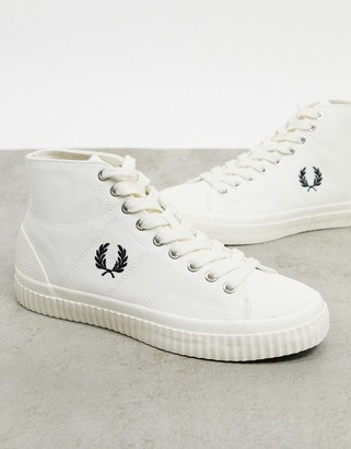 Fred Perry hughes high top canvas sneakers in ecru