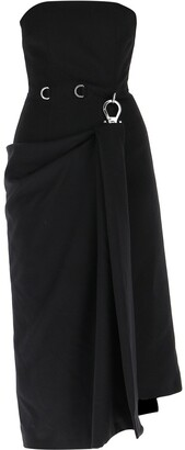 Prada Sleeveless Draped Buckle Midi Dress