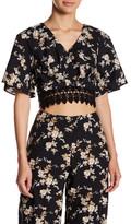 Fate V-Neck Floral Lace Crop Shirt