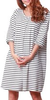 Sweet Mommy Striped Maternity and Nursing Three-quarter Sleeve Dress WHF