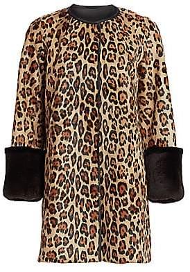 The Fur Salon Women's Julia & Stella For The Fur Salon Leopard-Print Calf Hair & Rabbit Fur-Cuff Coat