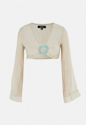 Missguided Linen Look Flare Sleeve Beach Cover Up Crop Top