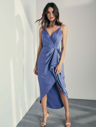 Forever New Adelina Waterfall Slip Midi Dress - BLUE CHARISMA - 4