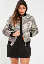 Missguided Plus Size Khaki Faded Camo Bomber Jacket