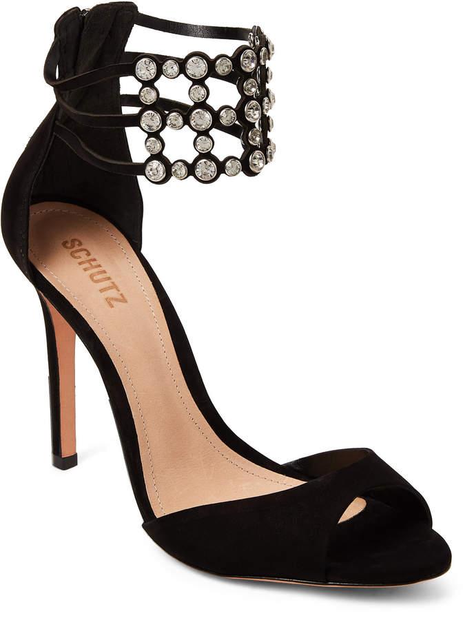 Schutz Black Jenny Embellished Leather Sandals