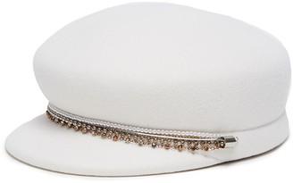 Eugenia Kim 'Sabrina' pearl crystal embellished chain newsboy cap