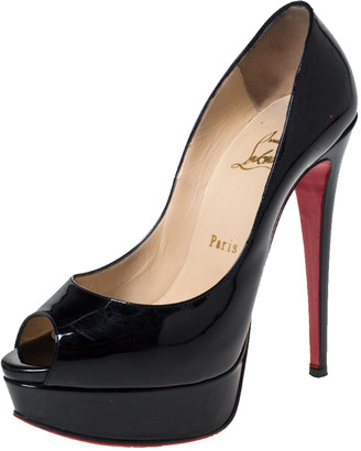 Christian Louboutin Black Patent Leather Lady Peep Toe Platform Pumps Size 36