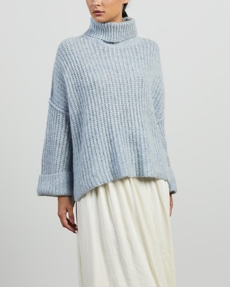 Apartment Clothing - Women's Blue Jumpers - Jed Mohair Cropped Turtleneck - Size 10 at The Iconic