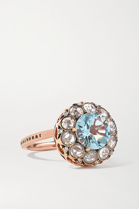 Selim Mouzannar Beirut 18-karat Rose Gold, Aquamarine And Diamond Ring - 6