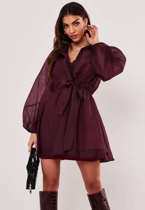 Missguided Burgundy Organza Button Front Shirt Dress