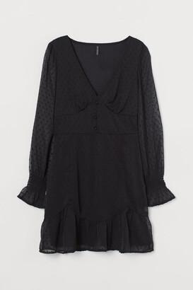 H&M Chiffon and Plumeti Dress - Black