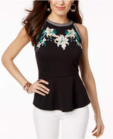 Thalia Sodi Embroidered Peplum Top, Created for Macy's