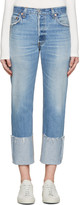 RE/DONE Blue High-Rise Cuffed Jeans