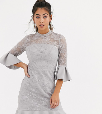 Chi Chi London flippy hem mini dress in grey and cream